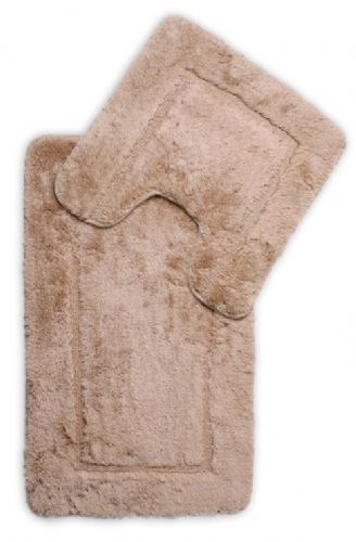 DESIGNER LUXURY SOFT MICROFIBRE BATH MAT & PEDESTAL RUG BEIGE COLOUR
